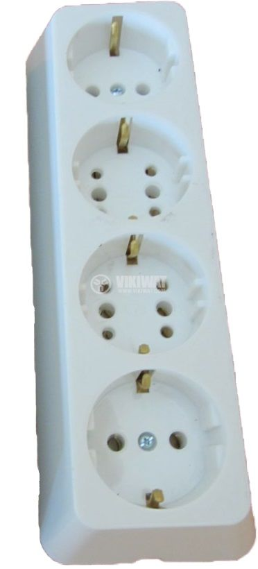 4-way Power Outlet Strip without cable, 250VAC, 16A, bakelite, white, TODI