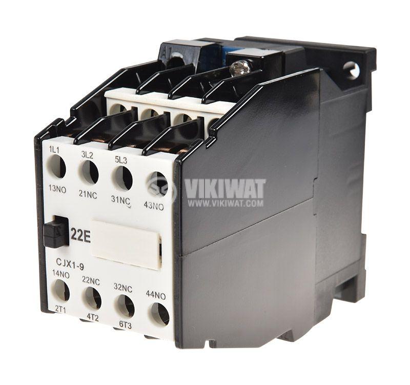 Контактор, трифазен, бобина 220VАC, 3PST - 3NO, 10A, CJX1-09, 2xNO+2xNC - 1