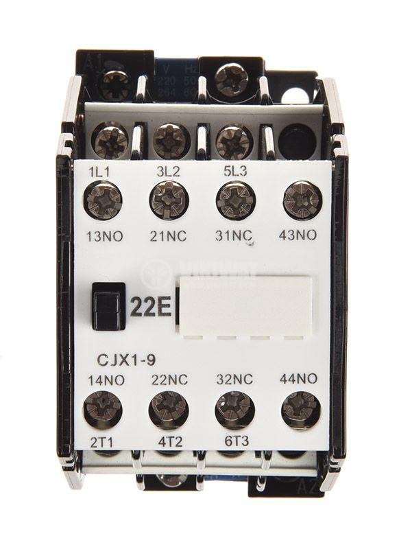 Контактор, трифазен, бобина 220VАC, 3PST - 3NO, 10A, CJX1-09, 2xNO+2xNC - 5
