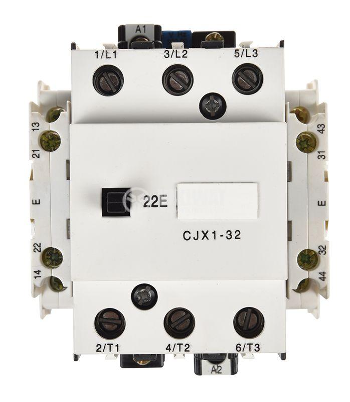 Контактор, трифазен, бобина 220VАC, 3PST - 3NO, 32A, CJX1-F32, 2NO+2NC - 5