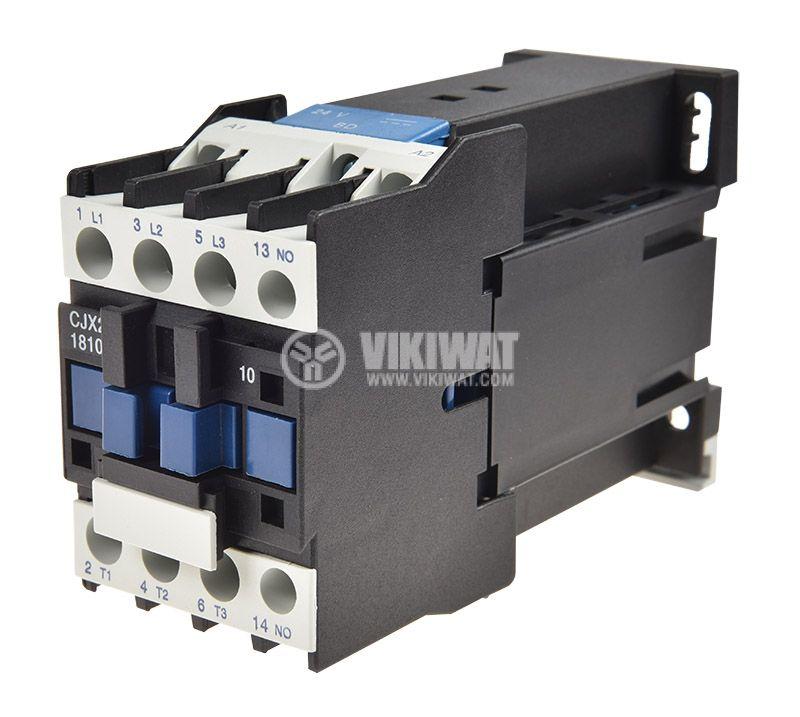 Контактор, трифазен, бобина 24VDC, 3PST - 3NO, 18A, CJX2-1810Z, NO - 1