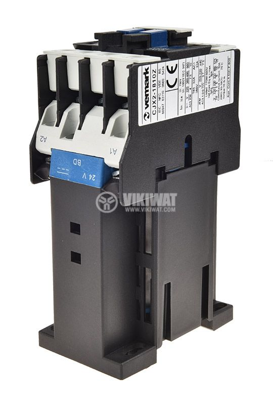 Contactor, three-phase, coil 24VDC, 3PST - 3NO, 18A, CJX2-1810Z, NO - 4