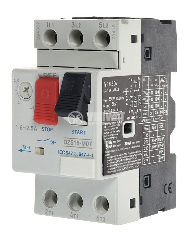 Motor protection circuit breaker (АТ00) DZ518-M07C, three-phase, 1.6-2.5 A - 1