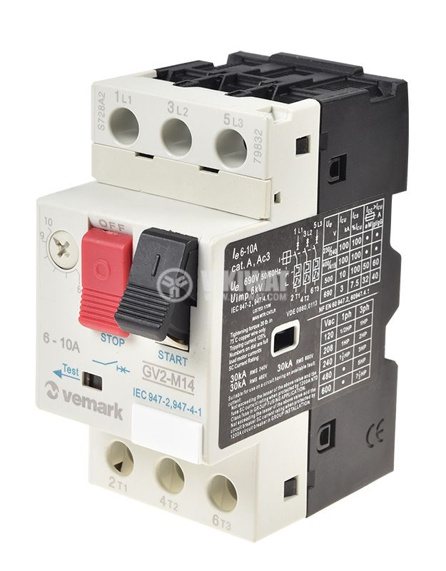 Motor protection circuit breaker (АТ00) DZ518-M14, three-phase, 6-10 A - 1