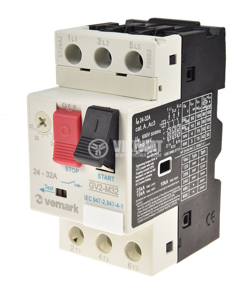Motor protection circuit breaker GV2-M32, three-phase, 24-32 A - 1