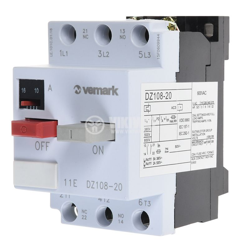 Motor protection circuit breaker (AT00) DZ108-20, three-phase, 10-16 A, NO + NC, 6A/380VAC - 1