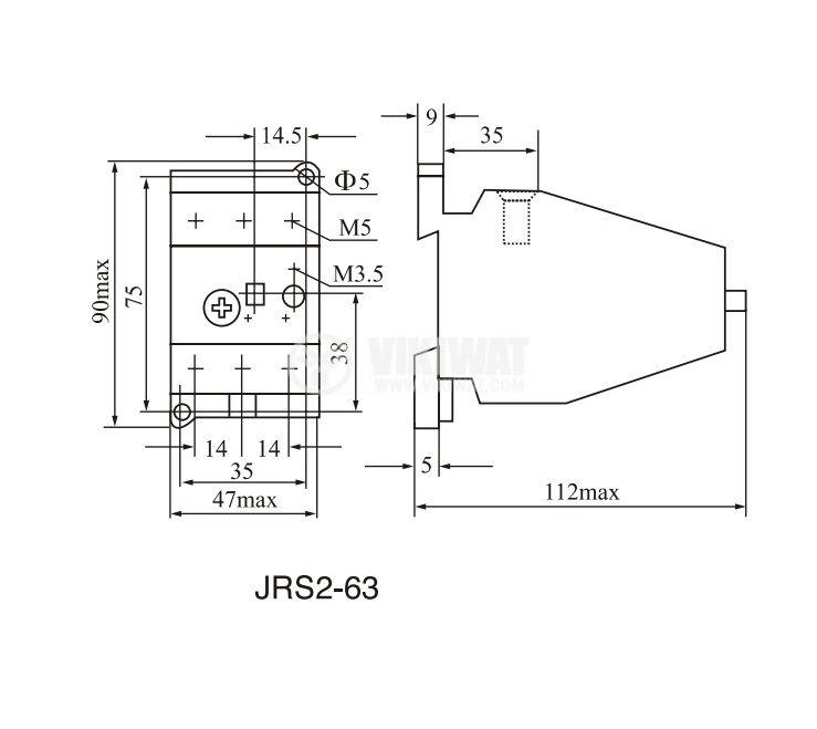 Моторна термично-токова защита, JRS2-63F, трифазна, 50 - 63 A, NO+NC, 6A/380VAC - 2