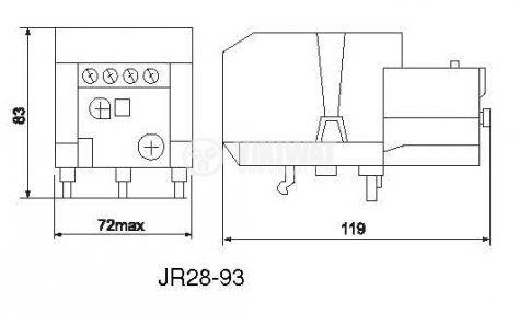 Термично реле, LR2 D3355, трифазно, 23-32 A, 2PST - NO+NC, 10 A, 380 VAC - 2