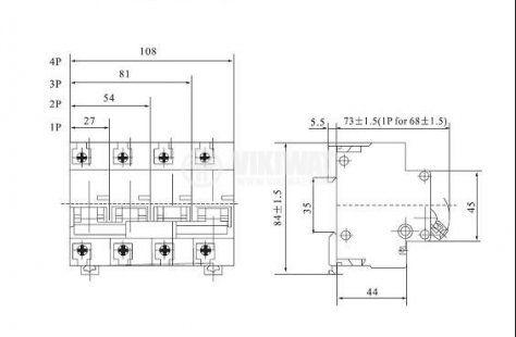 Предпазител, автоматичен, еднополюсен, 1x80A, CDB2-125, C крива, DIN шина - 2