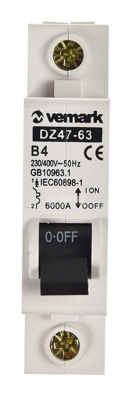 Предпазител DZ47-63, автоматичен, еднополюсен, 1x4A, B крива, DIN шина - 5