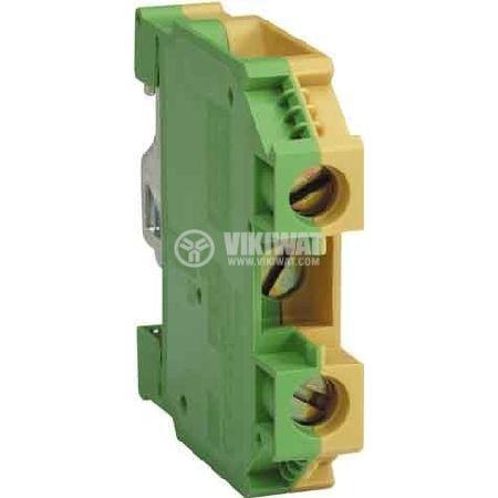 Редова клема, едноредова, ЕK2.5/35, 2.5mm2, жълто-зелена, заземителна - 1