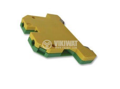 Редова клема, едноредова, ЕK2.5/35, 2.5mm2, жълто-зелена, заземителна - 3