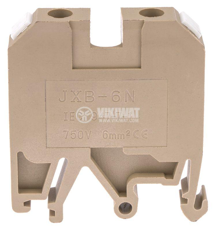 Редова клема, едноредова, JXB-6/35, 6mm2, 41A, 800V, бежова - 2