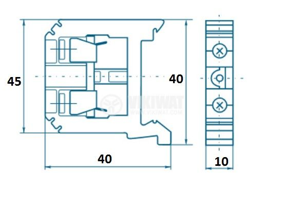 Редова клема, едноредова, SAK10/EN, 10mm2, 57A, 800V, бежова - 3