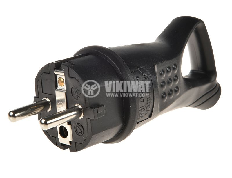 Щепсел, електрически, шуко, 16А/250VAC, гумиран - 1