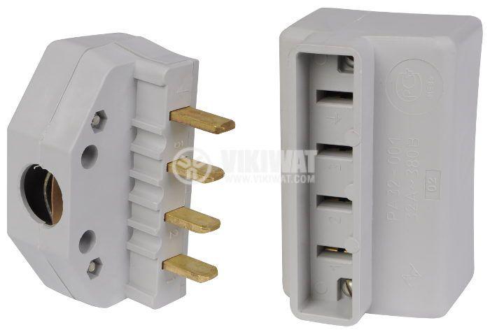 Electrical Plug + socket, 3 x 32 A, 380VAC, three phase