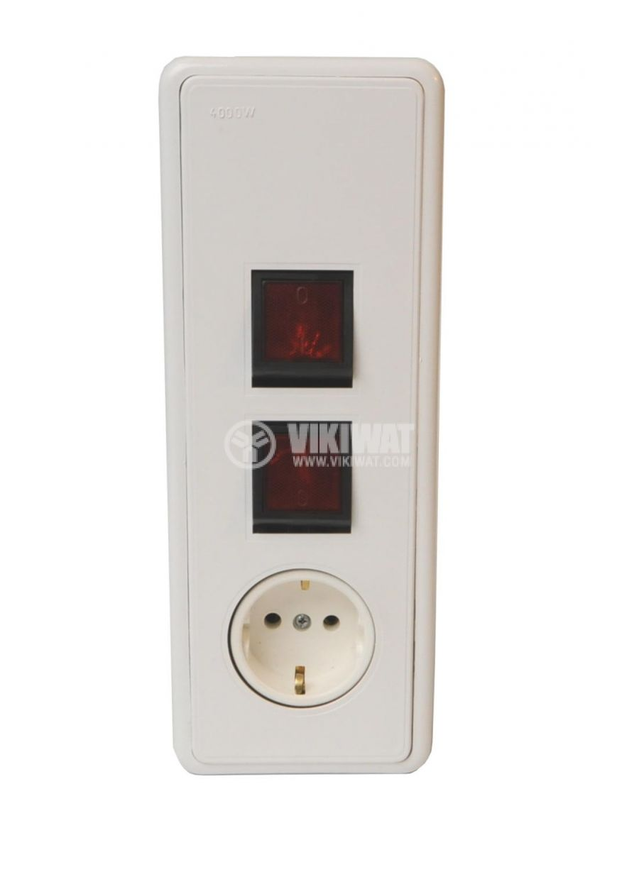 Electric switch for boilers, 2switches+1plug, 16A , 250VAC, built in mounting - 1