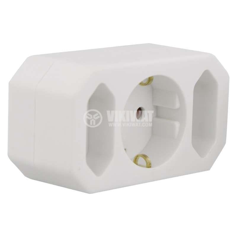 Разклонител за контакт тройка, P00272, 1 шуко към 1 шуко, 2 дуполюсни, 10A, 250VAC - 3