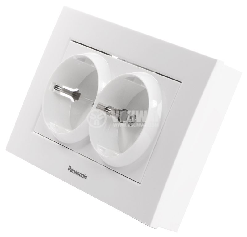 Dual power electrical socket, Panasonic, 16А, 250VAC, white, built-in, schuko - 2