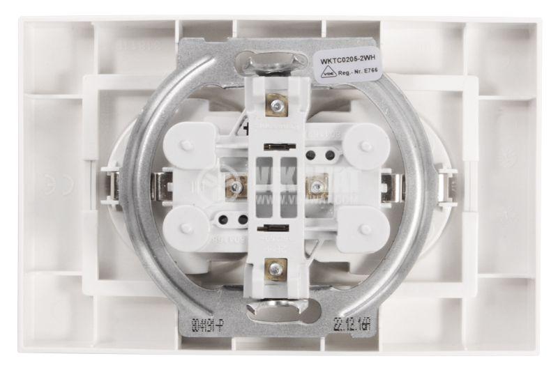 Dual power electrical socket, Panasonic, 16А, 250VAC, white, built-in, schuko - 3