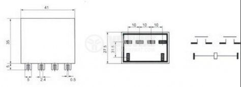 Реле електромагнитно, JQX-981F, бобина 12VDC, 250VAC, 30A, DPST, 2NO - 2