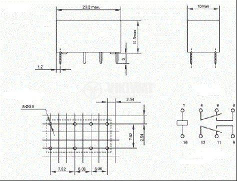 Реле електромагнитно JRC-19F бобина 9VDC 125VAC/1A DPDT-2NO+2NC - 3