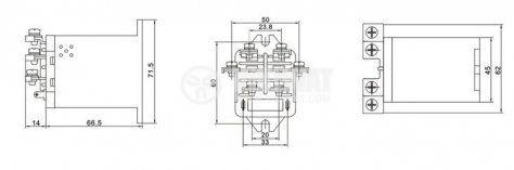 Реле електромагнитно, JQX-63F , 24VDC 250VAC/63A DPDT - 2NO+2NC - 3