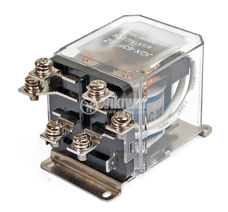 Реле електромагнитно, JQX-63F, 220VАC 250VAC/63A DPDT 2NO+2NC - 1