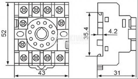 Цокъл за реле PF113A 300VAC 10А 11pin - 2