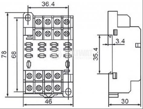 Цокъл за реле, PTF14A, 300VAC 10А 14pin - 2