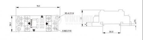 Цокъл реле PТF08A-Е, 10 А, 300 VAC, 8pin - 2