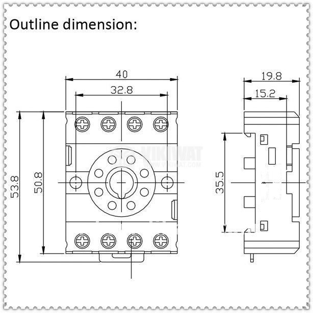 Relay Socket, PF083A-E, 300VAC, 10A, 8pins, DIN Rail - 3