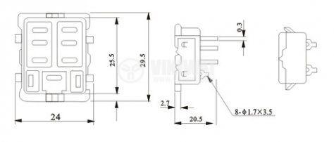 Цокъл за реле PT08A 300VAC 10А 8pin - 2