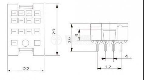 Цокъл реле PY14A, 300 VAC, 10 A, 14pin - 2