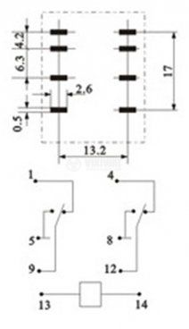 Електромагнитно реле MY2, бобина 12VDC, 250VAC/5A - 3