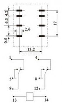 Реле електромагнитно MY2 бобина 24V 250VAC/5A - 3