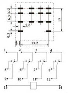 Реле електромагнитно MY4, бобина 12VDC, 250VAC/3A, 4PDT 4NO+4NC - 3