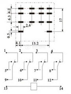 Реле електромагнитно MY4, бобина 24VDC, 250VAC/5A, 4PDT - 4NO+4NC - 3