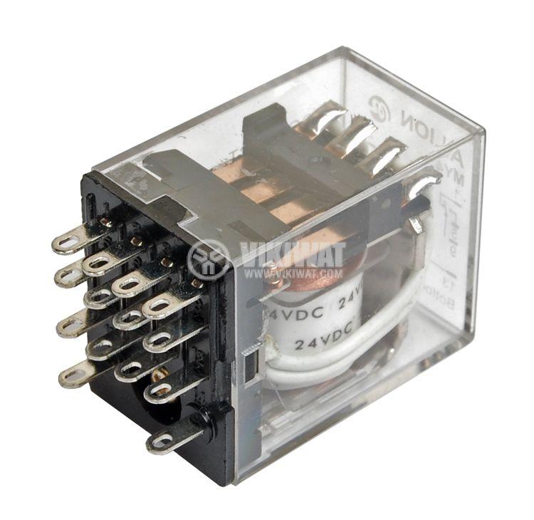 Електромагнитно реле универсално бобина 24VDC 250VAC/5A 4PDT - 4NO+4NC  MY4 - 1