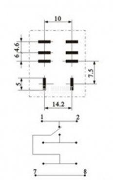 Реле електромагнитно LY1 с бобина 12VDC 250VAC/10A SPDT - NO+NC - 3
