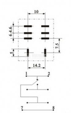 Електромагнитно реле универсално бобина 12VDC 250VAC/10A SPDT - NO+NC LY1 - 3