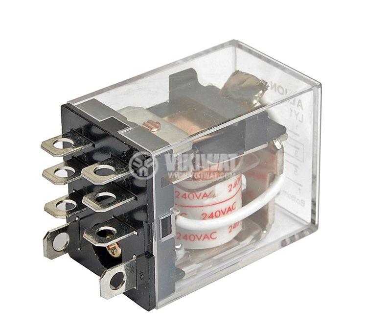 Реле електромагнитно универсално бобина 240VAC 250VAC/10A SPDT NO+NC LY1 - 1