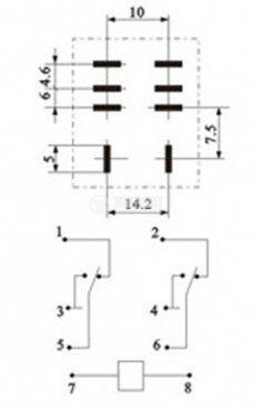 Реле електромагнитно LY2 бобина 12VDC 250VAC/10A DPDT - 2NO+2NC - 3