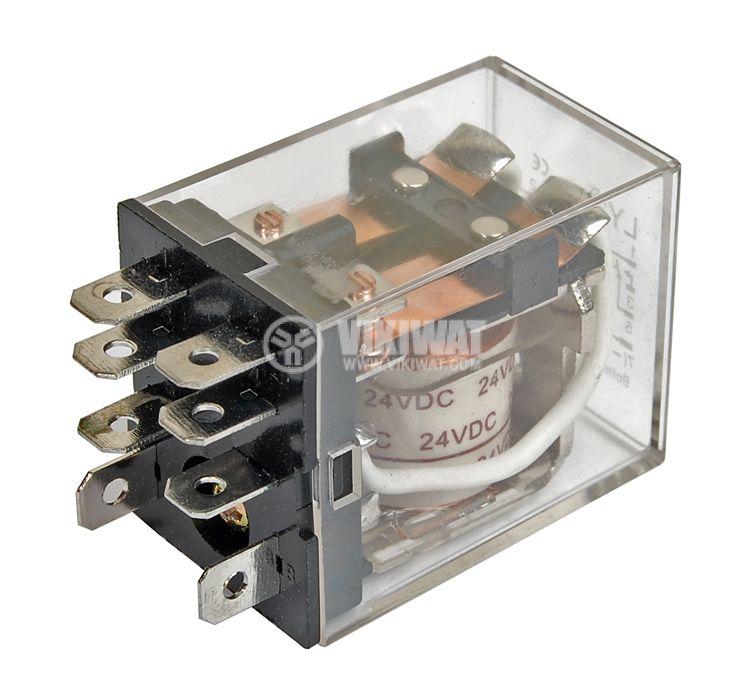 Електромагнитно реле универсално бобина 24VDC 250VAC/10A 2PDT - 2NO+2NC LY2 - 1