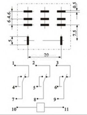 Реле електромагнитно LY3, бобина 240VAC, 250VAC/10A, 3PDT - 3NO+3NC - 3