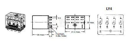 Електромагнитно реле универсално бобина 240VAC 250VAC/10A 4PDT - 4NO+4NC LY4 - 2