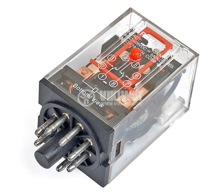 Реле електромагнитно, MK2P, 12VDC 250VAC/10A DPDT 2NO+2NC - 1