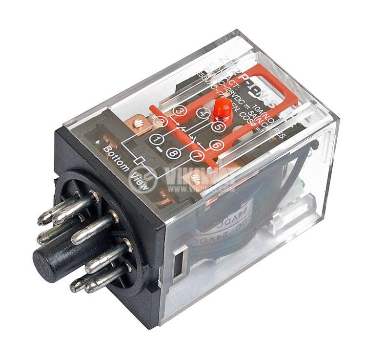 Реле електромагнитно, MK2P, 24VDC 250VAC/10A DPDT 2NO+2NC - 1