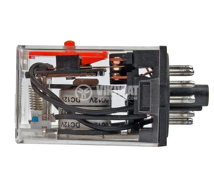 Реле електромагнитно, MK3P3, 12VDC 250VAC/10A 3PDT 3NO+3NC - 2