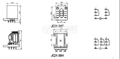 Реле електромагнитно силово бобина 24VDC 250VAC/40A 3PDT 3NO+3NC  JQX-38F - 2
